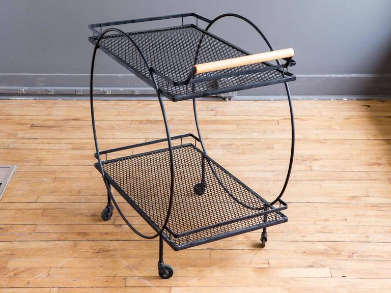 Mid Century Modern Black Metal Bar Cart By Freda Diamond For