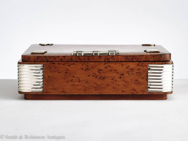 20th Century Art Deco Burr Walnut Games Box, France, circa 1925 3