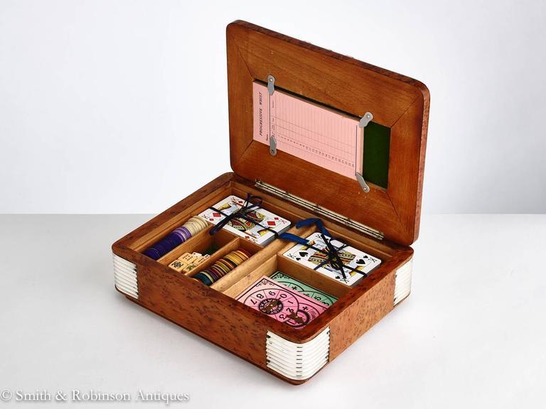 20th Century Art Deco Burr Walnut Games Box, France, circa 1925 5
