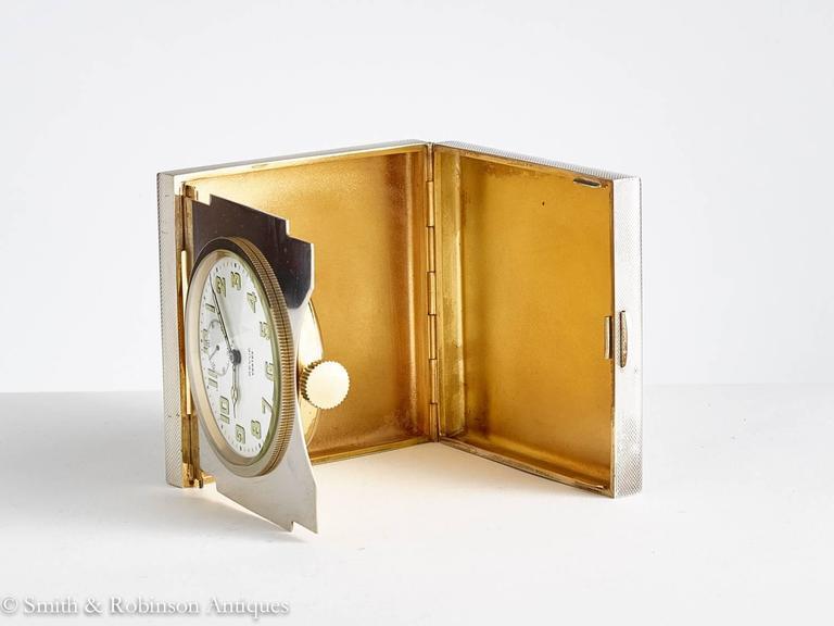 Silver Folding 8 Day Travel Clock Made by Garrard & Co, London, 1975 3