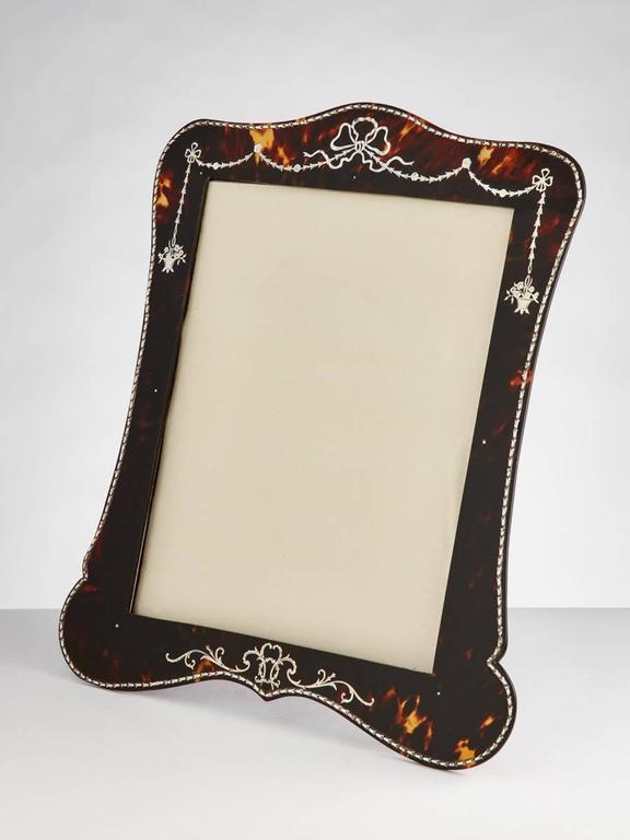 Beautiful Tortoiseshell and Silver Picture Frame by Vickery, London, circa 1910 2