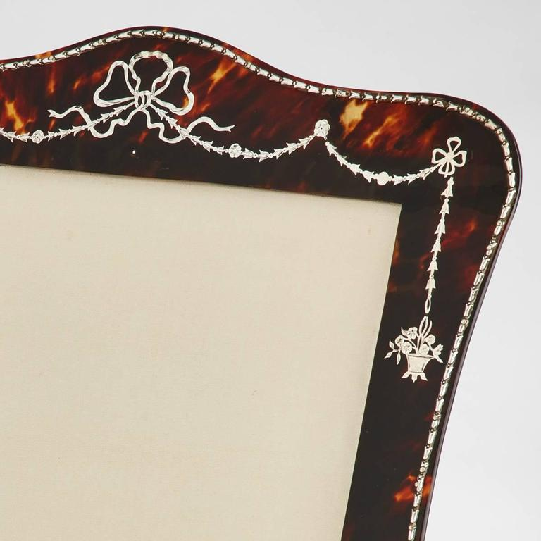 Beautiful Tortoiseshell and Silver Picture Frame by Vickery, London, circa 1910 4
