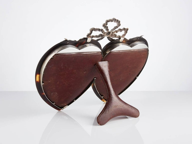 English Tortoiseshell and Sterling Silver Heart Photograph Frame Dated London, 1897 For Sale