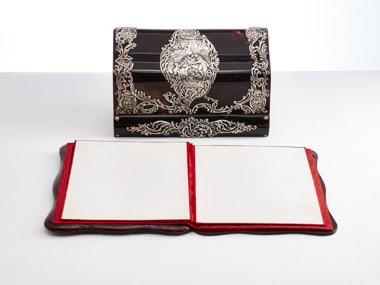 Late 19th Century Early 20th Century Tortoiseshell & Silver Desk Set English, circa 1900 For Sale