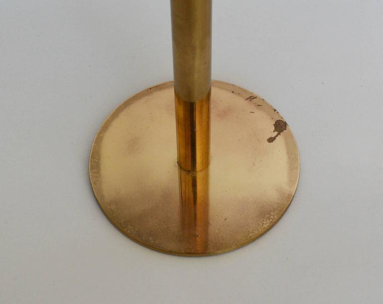 Scandinavian Modern Hans-Agne Jakobsson Tall Brass and Glass Candleholder For Sale