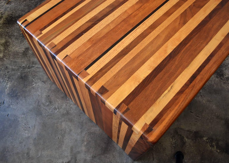 Late 20th Century California Craft Studio Laminated Mixed Woods Coffee Table or Bench For Sale
