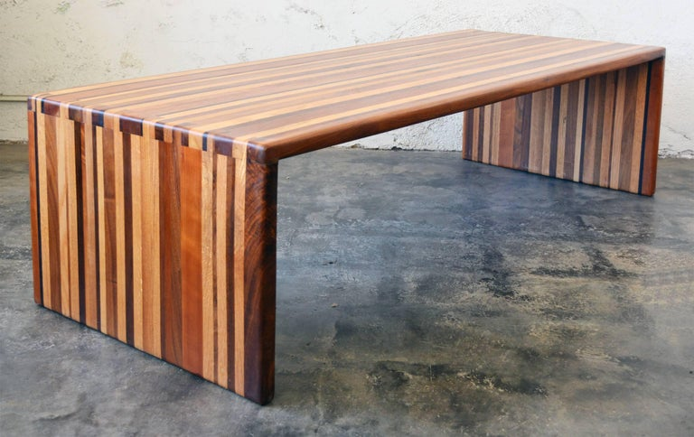 California Craft Studio Laminated Mixed Woods Coffee Table or Bench In Good Condition For Sale In San Mateo, CA