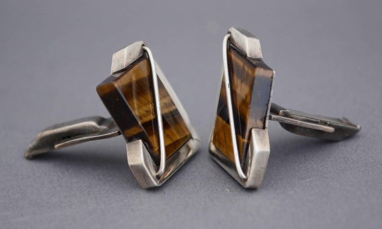 Sterling Silver Rancho Alegre Modernist Sterling and Tiger Eye Cuff Links  For Sale