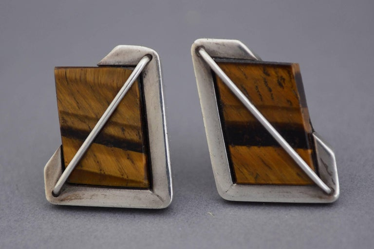 Mid-20th Century Rancho Alegre Modernist Sterling and Tiger Eye Cuff Links  For Sale