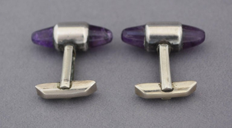 Sterling and Amethyst Cuff Links by Antonio Pineda For Sale 1