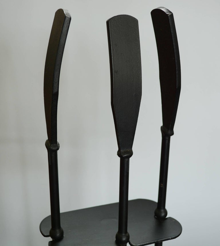 Modernist Iron Fireplace Tools In Good Condition For Sale In San Mateo, CA