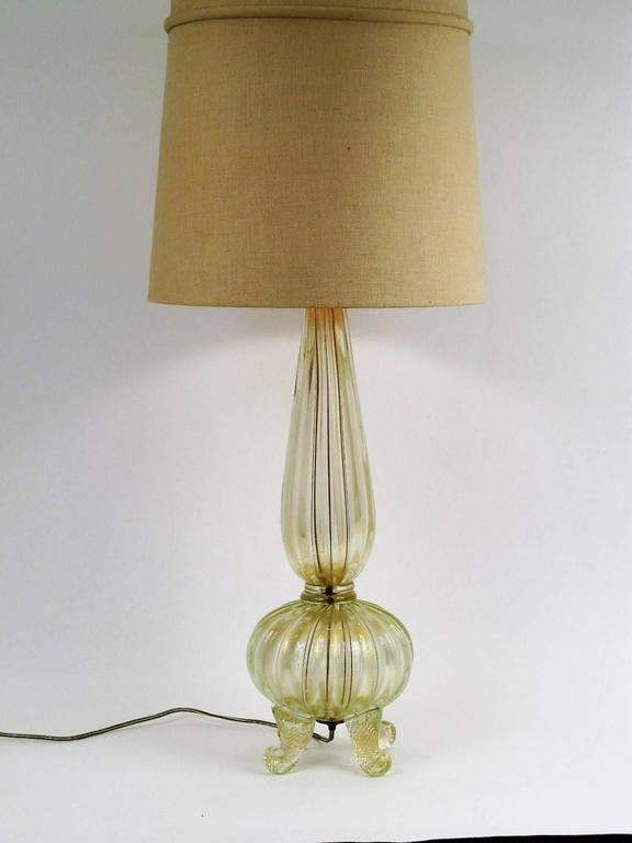 Gold Flake Barovier and Toso Blown Glass Lamp with Cornucopia Footing 2