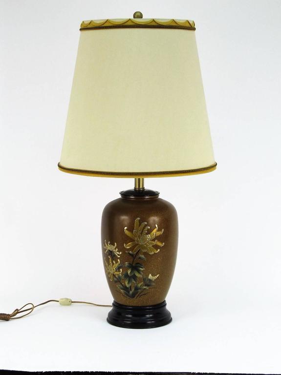 All Original Marbro Japanese Chrysanthemum Bronze Lamp 2