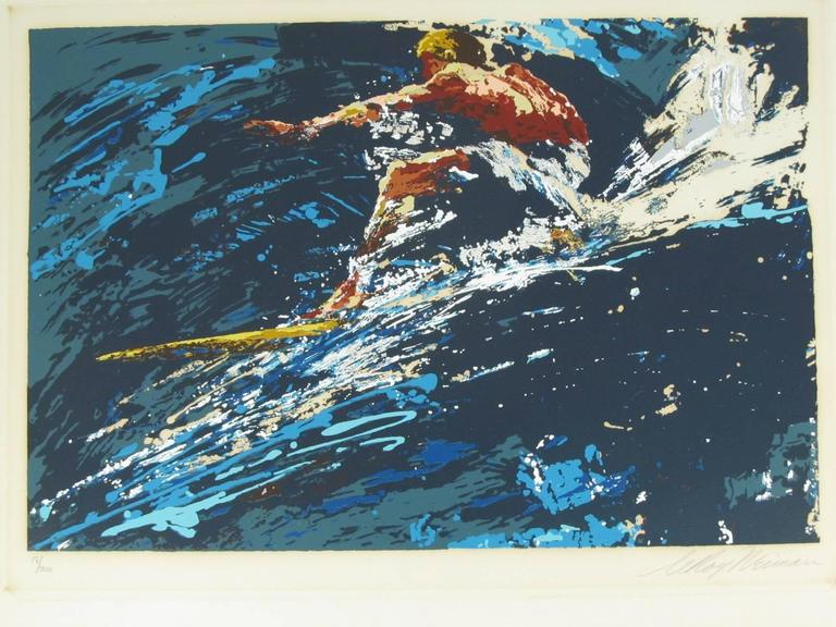 "Signed and Numbered 17/300 Leroy Neiman Serigraph ""Surfer"" 1973 2"