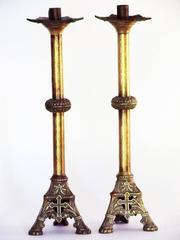 Pair of Antique Neo-Gothic Ecclesiastical Brass Altar Candlesticks