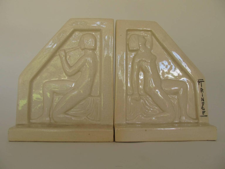 1924, French Art Deco Ceramic Bookends by F Trinque 2