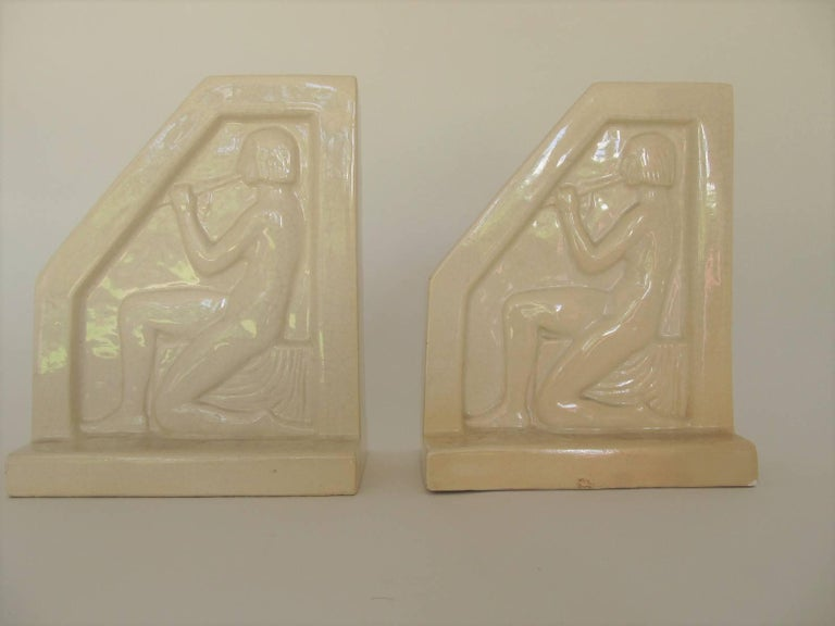 1924, French Art Deco Ceramic Bookends by F Trinque 3