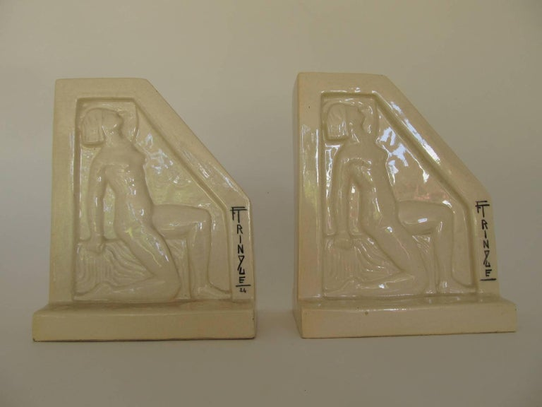 1924, French Art Deco Ceramic Bookends by F Trinque 4