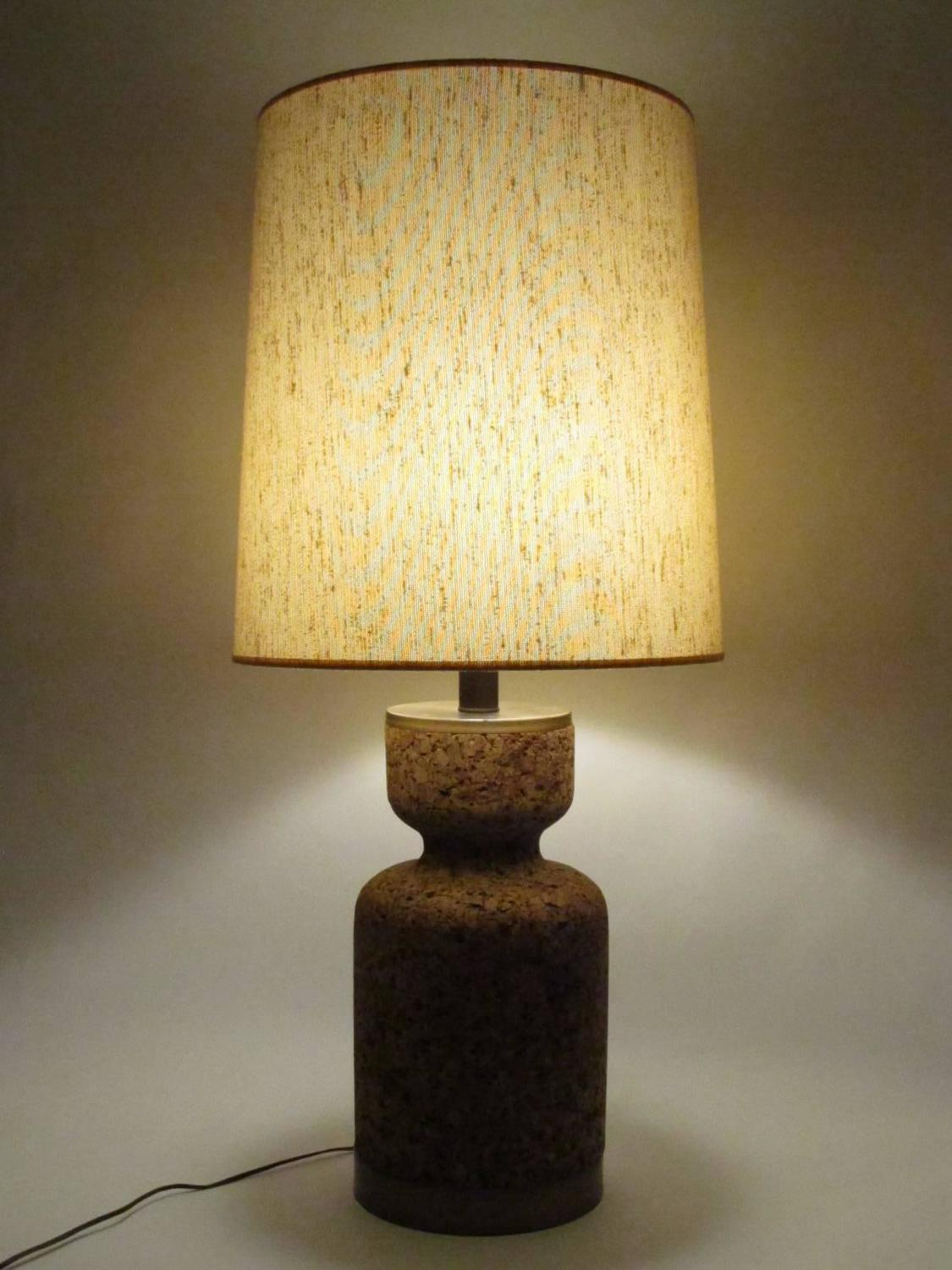 Large cork table lamp with original knubby linen shade at for Wine cork lampshade