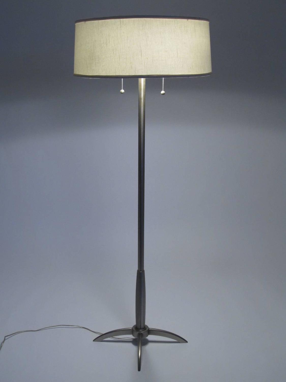 Stiffel Modern Style Floor Lamp With Original Linen Shade
