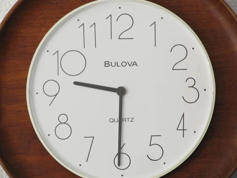 S Christian And Bulova Teak And Plastic Wall Clock At 1stdibs