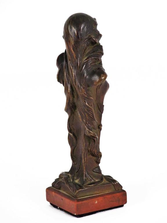 Red Bronze Stone : Lovely diminutive art nouveau bronze bust on a red stone