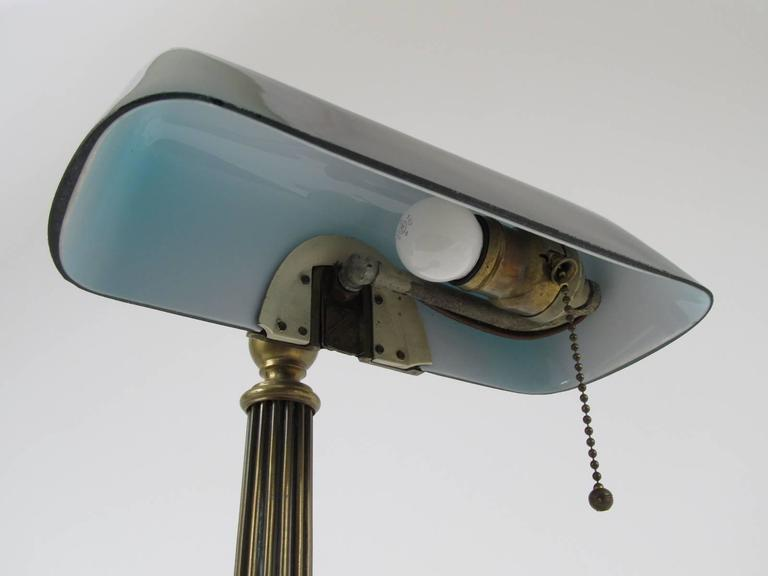 Amronlite Green Glass Shade Quot Bankers Quot Desk Lamp At 1stdibs