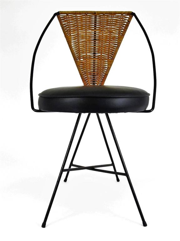 Arthur Umanoff Designed Mid Century Modern Iron And Wicker Side Chair At 1stdibs