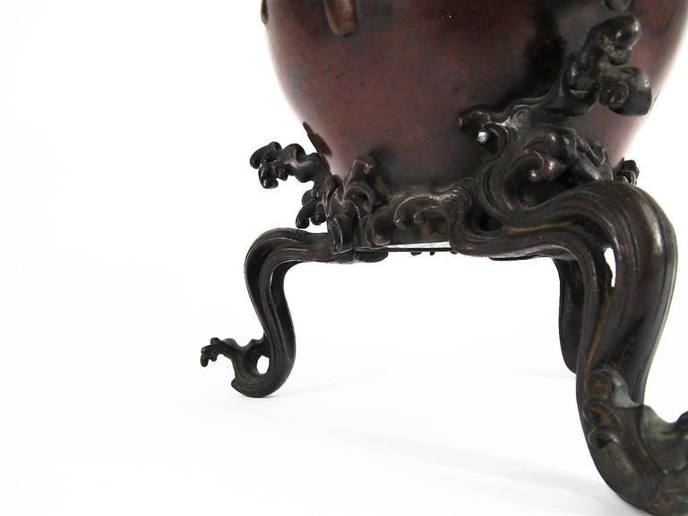 Exceptional Japanese Meiji Bronze Wave Usubata Ikebana Vase 4