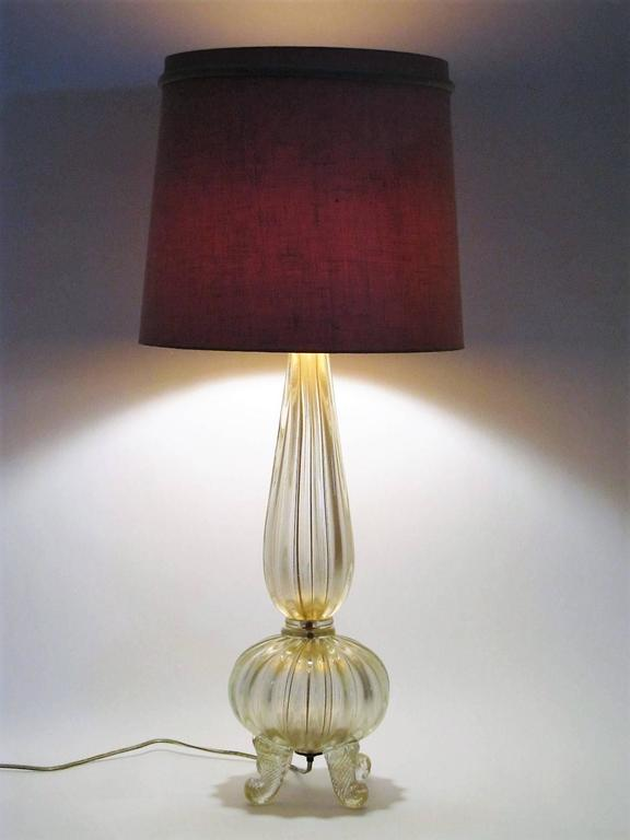 Gold Flake Barovier and Toso Blown Glass Lamp with Cornucopia Footing 4