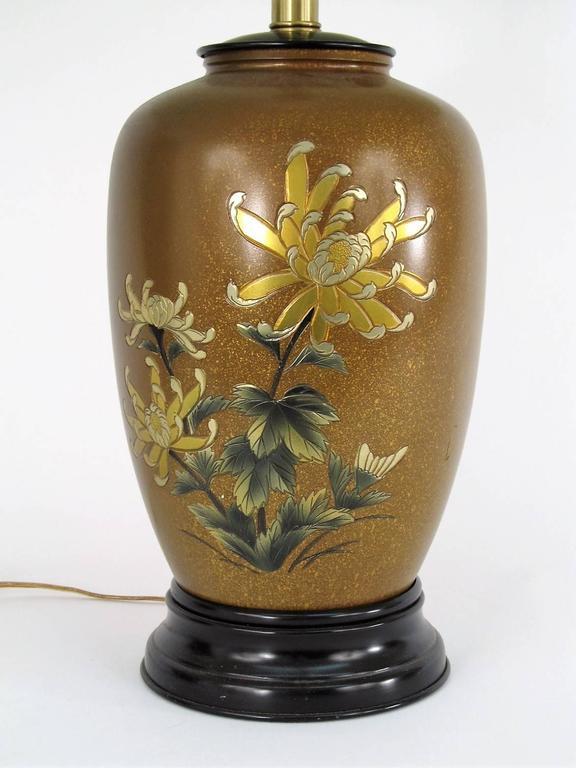 All Original Marbro Japanese Chrysanthemum Bronze Lamp 3