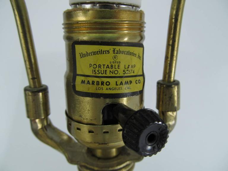 All Original Marbro Japanese Chrysanthemum Bronze Lamp 5