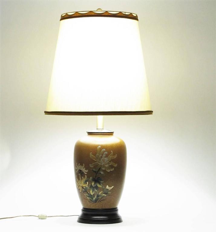 All Original Marbro Japanese Chrysanthemum Bronze Lamp 6