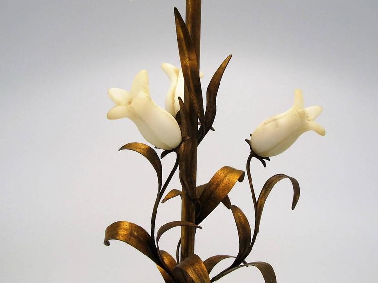 Lovely Italian 1950s Alabaster and Gilt Metal Botanical Style Lamp 2
