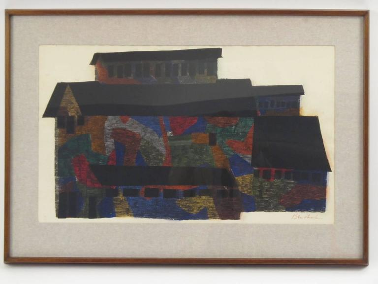 "Large Polychrome Architecture Screenprint ""Mine Building"" Signed Ben Shahn, 1956 6"