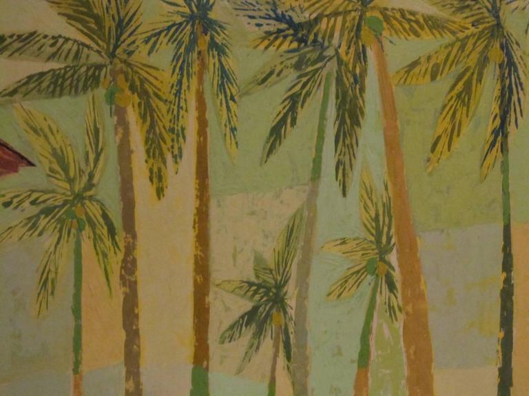 "Signed Original Painting ""Kailua Coconut Grove"" by Earl Thollander 2"