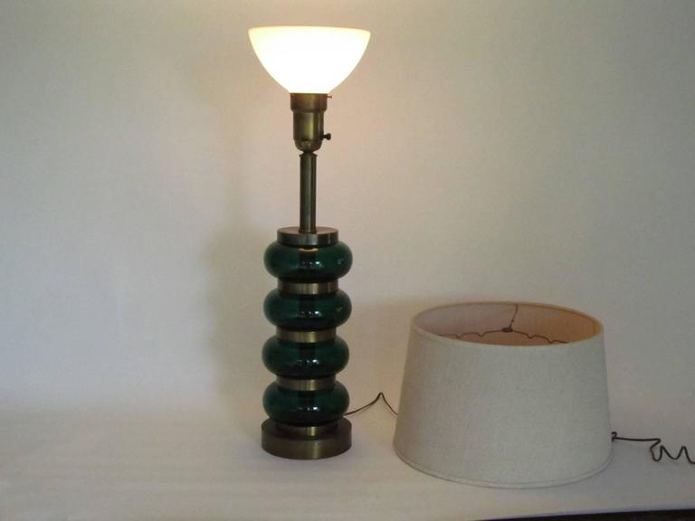 Deep Emerald Green Glass and Brass Table Lamp 3