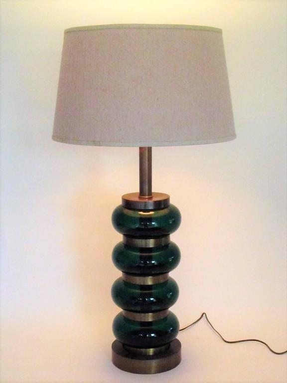 Deep Emerald Green Glass and Brass Table Lamp 4