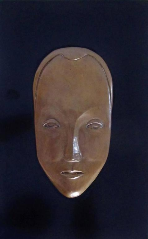 Art Deco Signed and Dated Bas Relief Bronze Mask 2
