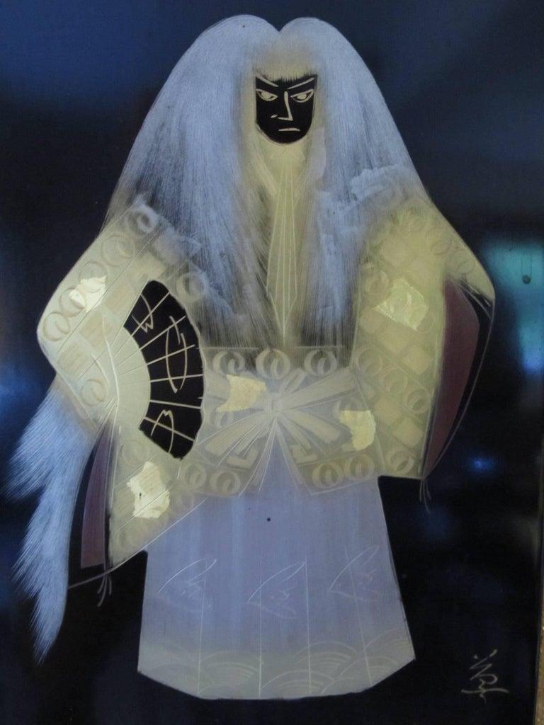 Vintage Japanese Lacquer Kabuki Actor Plaque 3