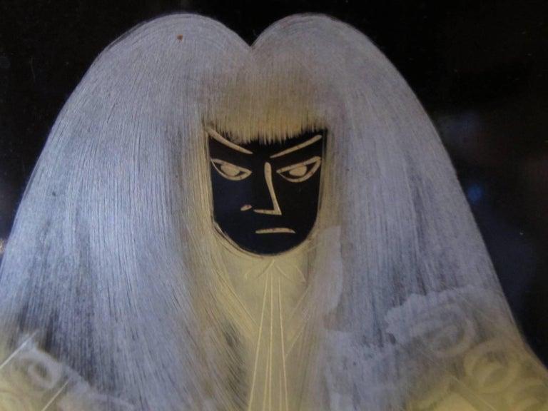 Vintage Japanese Lacquer Kabuki Actor Plaque 4