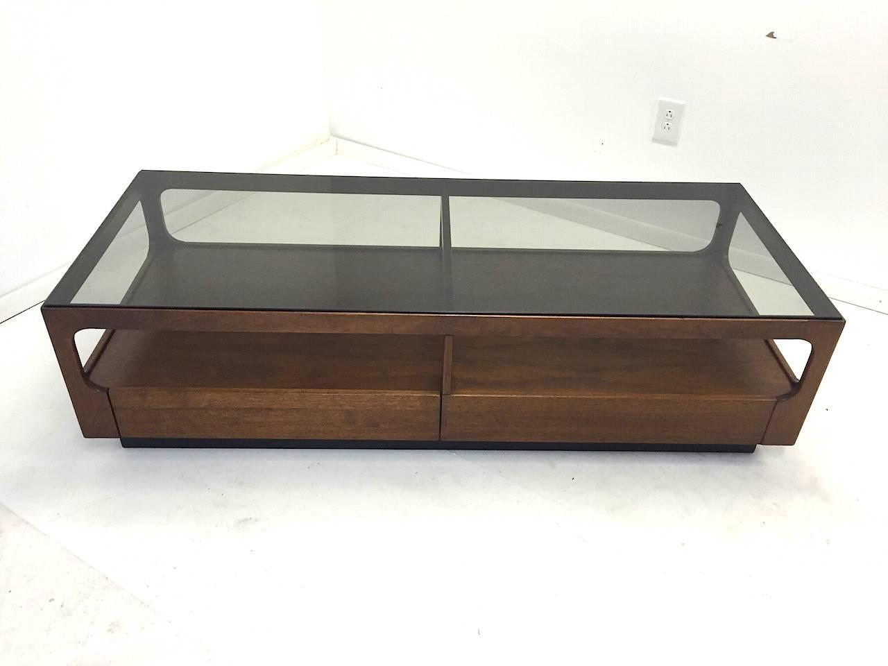 Walnut And Smoked Glass Coffee Table With Storage By John Keal For Brown Saltman At 1stdibs