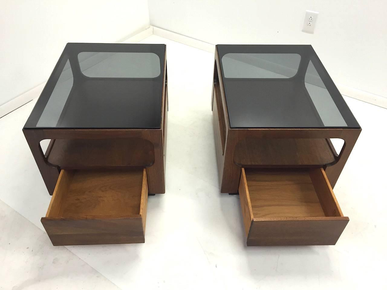 Pair Of Walnut Smoked Glass End Tables By John Keal For