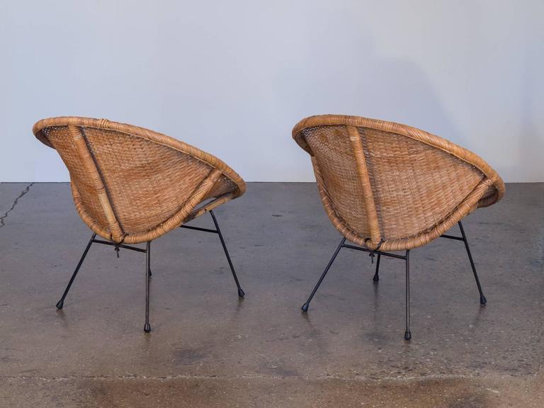 Mid Century Modern Pair Of Rattan Scoop Chairs For