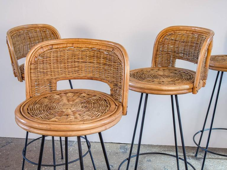 Set Of Four Vintage Rattan Bar Stools At 1stdibs
