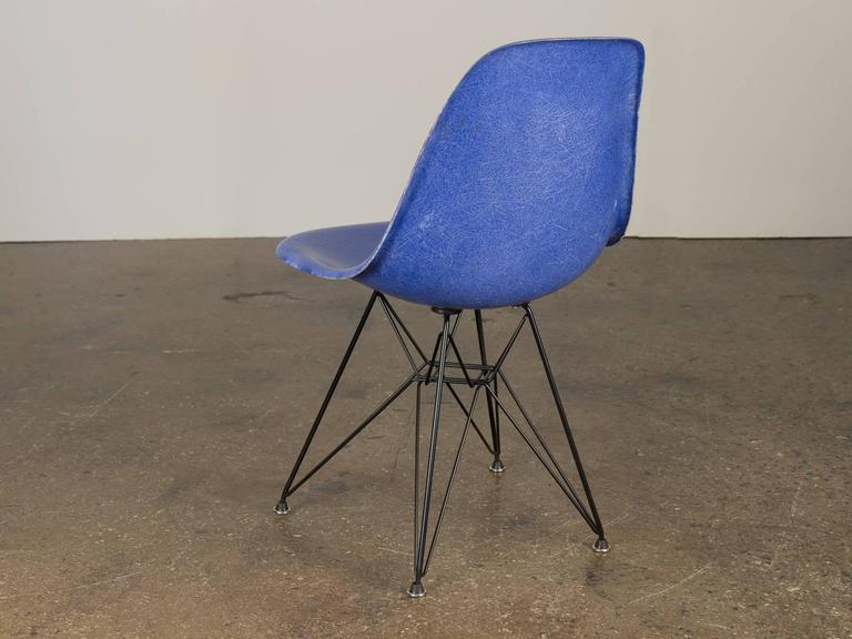 Mid-Century Modern Vintage Blue Eames Herman Miller Chairs For Sale