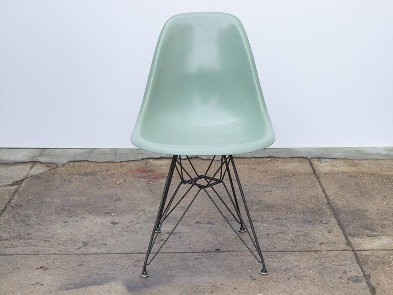 Eames Seafoam Fiberglass Chair On Black Eiffel Base At 1stdibs