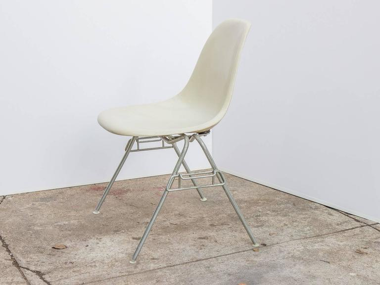 Mid Century Modern Eames Parchment Shell Chairs On Stacking Base For Sale