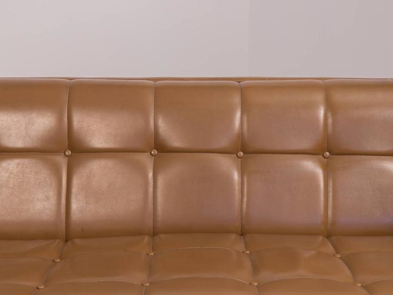 Mid Century Modern Cognac Tufted Sofa 3
