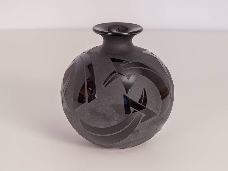 Etched Black Bud Vase At 1stdibs